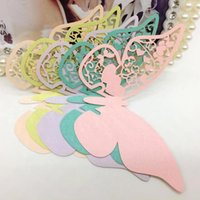 champagne flutes - 2015 Wine Glass Cards Wedding Party Decorations Wedding Cake Toppers name card butterfly laser Cut Card Escort Card CPA312