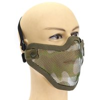 Wholesale NEW Tactical Half Face Protective Gear Nylon Metal Mesh Camouflage Mask For Airsoft Paintball Hunting