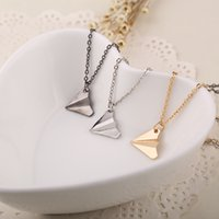 airplane arrival - 2015 NEW Arrival Hot Sale Fashion Paper Airplane Necklace Chain Pendant British star individuality necklace jewelry statement Alloy necklace