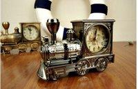 al por mayor relojes de alarma de la vendimia-1pcs reloj de alarma de la forma de la cabeza del tren / muebles de lujo estupendos de la vendimia retro refrescan el modelo del coche boutique del regalo, H020 europeo