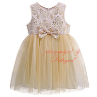 Summer baby girl vintage clothes - 2016 Baby Girls Fashion Vintage Gold Floral Net Yarn Tutu Princess Dresses Children Kids Sleeveless Bow Petti Vest Dress Girls Clothing