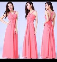 En existencias de China vestido de fiesta rosa larga v cuello Perla Imperio cintura moldeada largo de la gasa vestido de noche formal del vestido de dama de honor vestidos hechos en China