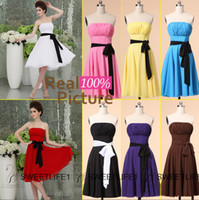 Wholesale 2015 Short Chiffon Beach Bridesmaid Dresses IN STOCK Cheap Under Knee Length Maid of Honor Gowns White Red Black Purple Blue Pink Brown