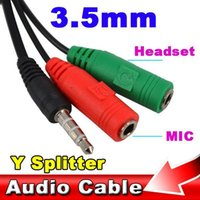 Wholesale 2015 MM Extension Audio Mic Earphone Headphone Audio Y Splitter Cable Adapter Male to Female for PC laptop Computer