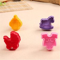 baby bottle coolers - 4pcs Cookie Cutter Stamp Mold with Cute Baby Style Milk Bottle Baby Cart Biscuit Decoration Tools Cake Molds D765