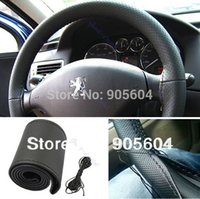 Wholesale High quality DIY Black Leather Car Steering Wheel Cover With Needles Thread Hand Sewing Wheel Covers