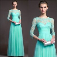 Wholesale Evening Dresses with Long Sleeves Jewel Neck Beaded Bodice Lace Hollow A Line Ball Gowns Mother of the Bride Dresses Evening Gowns