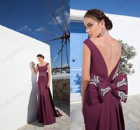 Cheap New Arrival Mermaid Prom Dresses Tarik Ediz Spring 2015 Party Gown Plus Size Formal Gown Embroidery With Bow Sheer Backless Evening Gown