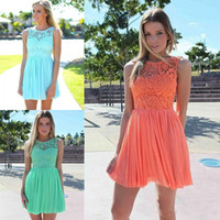 Cheap 2016 Cheap Short Bridesmaid Dresses Lace and Chiffon Mint A-Line Jewel Neckline Wedding Party Gowns bridesmaid Formal Dresses