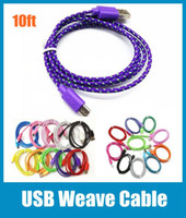 Wholesale 3m Usb Cable Fabric Nylon Micro Data Sync Charging Cord Lead Woven line for Universal Cellphone V8 micro samsung note CAB009
