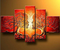 Wholesale 100 Hand painted Abstract landscape home Decor tree Oil Painting on canvas set living room decoration pictures framed