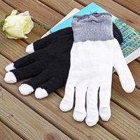 Wholesale 1pair Mode LED Gloves Rave Light Finger Lighting Flashing Glow Mittens black Free Drop Shipping