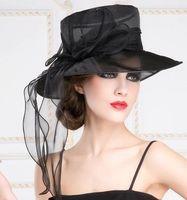 Wholesale New Elegant long bow hat Arrival Women Church Sinamay Hat Flower Sinamay Fabric With Organza Brim Winter Dress Hat Sun Hat Sinamay