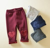 Wholesale Winter Warm Baby Girl Solid Thicken Pant Kids Heart Cropped Pants Elastic Leggings Children Girls Clothes K5995