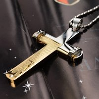 Wholesale Fashion brand L titanium steel rhinestone letters Cross pendant necklace silver gold lovers chunky metal cross necklace jewelry SP00160