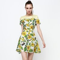 Wholesale Musi Qi European station new fall sunflower printed silk dress put on a large Japanese and Korean style dress