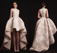 fashion lace ribbon - 2015 New Arrival Lace Evening Gowns Crew Sleeveless Custom Made Plus Size Champagne Formal Dress Spring Krikor Jabotian Hi Lo Prom Dresses