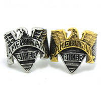 silver eagle - Factory Price Silver Golden Eagle Biker Ring Ride To Live New Style Ring L Stainless Steel