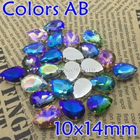 Wholesale 48pcs x14MM Sew On Teardrop Crystal Fancy Stone With Claw Setting More Colors AB Amethyst Pink Violet Emerald AB Colors