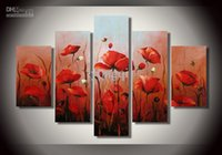 modern painting decorative - Hand painted Hi Q modern wall art home decorative abstract flower oil painting on canvas blooming corn poppy set framed