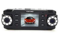 cámara accidente de coche de la cámara del coche de HD X8000C de doble lente de la cámara del coche DVR de vídeo de la leva del registrador del vehículo de la rociada GPS G-Sensor