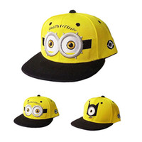 Wholesale 2015 Fashion Baseball Cap God Steal Dads Film Yellow Minions Flat Along Snapback Hip hop Hat for Boy And girls Canvas