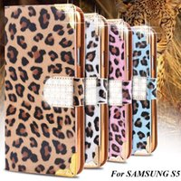 affordable diamonds - New Affordable Fashion Women Leopard Skins Leather Case Cover For Samsung Galaxy S5 I9600 SV With Card Holder Diamond Buckle