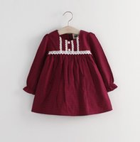 black baby doll - New Spring Autumn Plaid Lace Side Children Girls Baby doll Dress Long Sleeve Causal Child Girl Dresses Baby Tutu Dressy Black Red L1952