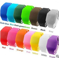 Wholesale Screen Color Squares - A+++ Hot selling 14 color new Colorful Soft Led Touch watch Jelly Candy silicone digital feeling screen watches, free shipping