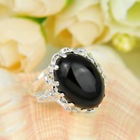 black onyx rings - Half Dozen Valentine Days Gift Oval Natural Black Onyx Crystal Gemstone Russia Sterling Silver Plated USA Weddiing Party Ring