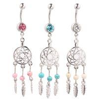 belly button art - Body Jewelry Crystal Gem Dream Catcher Navel Dangle Belly Barbell Button Bar Ring Body piercing Art