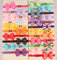 Wholesale Baby inch Stripes Bowknot Headbands Girl Grosgrain Ribbon Bows Headwear Kids Bow Elasticity Hair Bands Hair Accessories Headdress