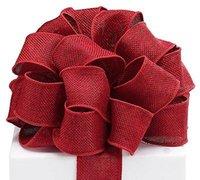 al por mayor artesanías cinta de alambre-Burlap cinta de alambre bordeado Borgoña 1,5
