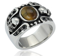 Cheap 2015 hot sale stainless steel skull rings,men fashion black brown opal rings jewelry