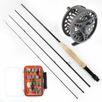 Wholesale Cheap fly fishing set m fly fishing rod metal Aluminum alloy fly fishing reel pieces fly fishing lure with box