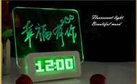 led message board - LED Fluorescent Message Board with pen Digital Alarm Clock Calendar Night light wrinting any message lovely gift