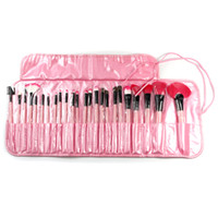 Wholesale Professional Makeup Brushes Set Charming Pink Cosmetic Eyeshadow Brushes with Leather Case