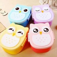 Wholesale Fun Life Bento box Cartoon cute owl Bento Lunch meal box tableware Easy Open microwave oven lunchbox