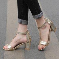 ankle strap sandles - 2015 New Arrivals Fashion Sexy Square Mid Heel Ankle Strap Sandals Woman s Fashion Rivets Sandles Plus Big Size