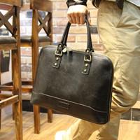leather canvas laptop bag - Mens Genuine Leather Brand Briefcases Laptop Handbag Shoulder Bag Messenger Bag