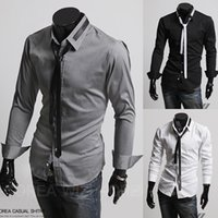 banded polo shirts - 2015 spring new Men Long sleeve Shirt tees tops hoodies Male Korean Simple College Style Solid Slim Shirt Band with Tie