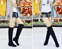 designer boots women - Women boots autumn winter ladies fashion boots over the knee thigh high suede long boots brand designer LA871245