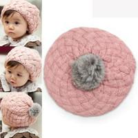 Cheap Cute Baby Kids Girls Toddler Winter Warm Knitted Crochet Beanie Hat Beret Cap free shipping
