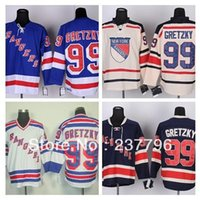 best ice creams - New Wayne Gretzky Jersey New York Rangers Ice Hockey Jerseys Blue Beige Cream Winter Classic Best Quality Polyester