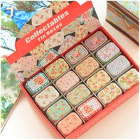 metal box - Free hipping New vintage small flowers series quality iron case storage case tin box