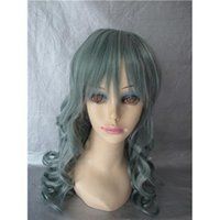 Wholesale Remy Cosplay Wig Deep Wave Synthetic Hair Brand New Blackish Green Wigs