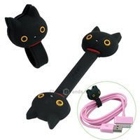 Wholesale 2pcs Set Cartoon Totoro Cable Ties Cord Black Cat Cable Ties Cord Organizer Wrap Winder for Headphones