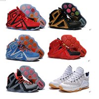 Wholesale 9 Colours With Box Lebron XII Elite Low USA White Midnight Navy Red Metallic Gold Olympic Men Basketball Sport Shoes