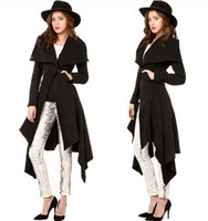 Wholesale 2015 Winter Fashion design coat dress fishtail hem collar double pockets with Button Waist wool women coat