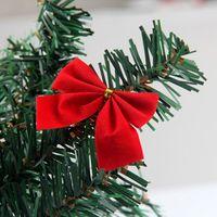 beautiful christmas ornament - 12pcs Set Beautiful Bowknots Christmas Tree Decoration Red Gold Flocking Bowknots Home Party Garden Christmas Tree Ornament Baubles